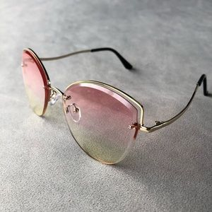 Pink to Green Gold-Tone Sunglasses ~ NWT